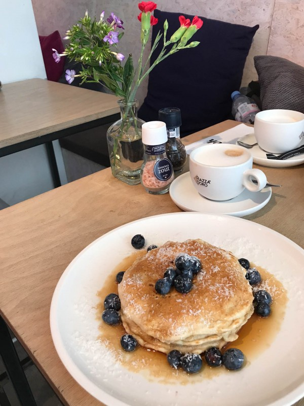 Pancakes with blueberries at Mook in Amsterdam