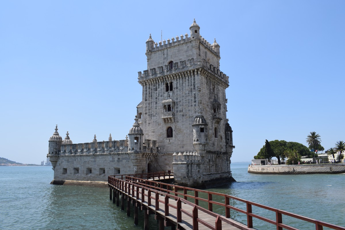 Belem Tower and walkway in Lisbon Portugal