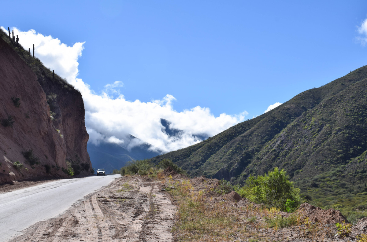 Car along road in North Western Argentina