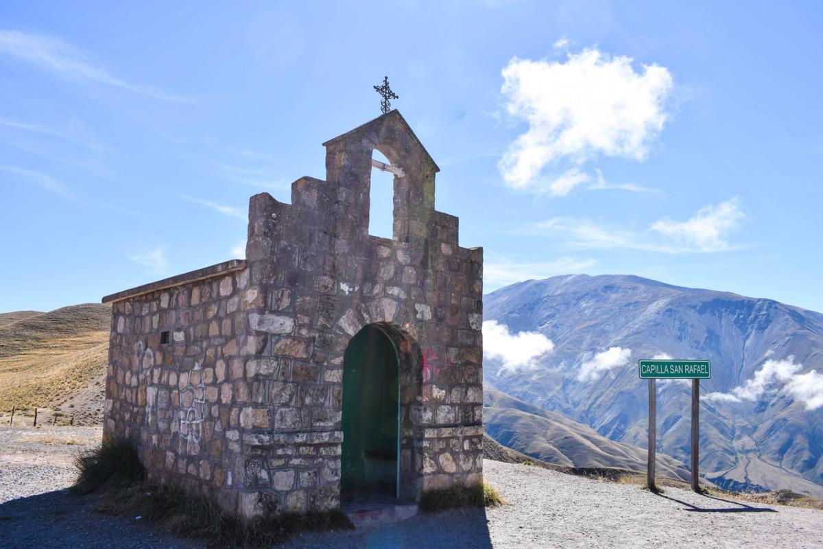 Capilla San Rafeal church along Cuesta del Obispo in Argentina