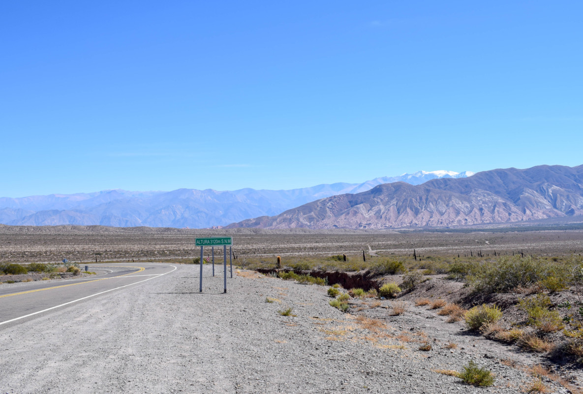 Road sign along Route 40 Salta to Cachi