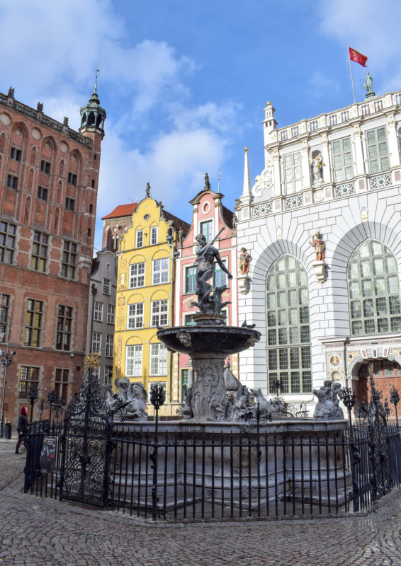 Neptune's Fountain in Old Town Gdansk