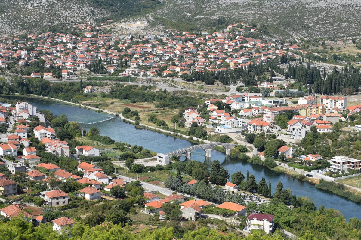 View of Trebinje from Hercegovacka Gracanica Trebinje in Bosnia and Herzogovina