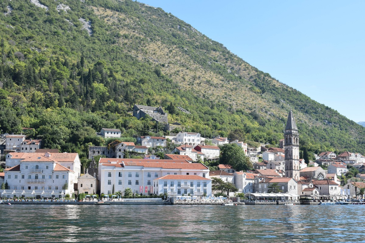 View of Perast from Our Lady of the Rocks, Montenegro, Bay of Kotor
