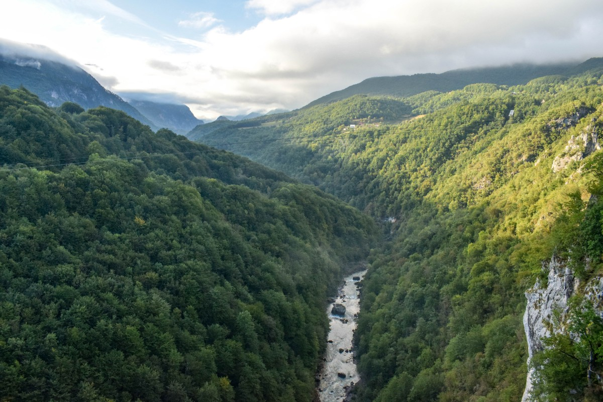 View of Tara River from Tara Bridge Durmitor National Park Montenegro