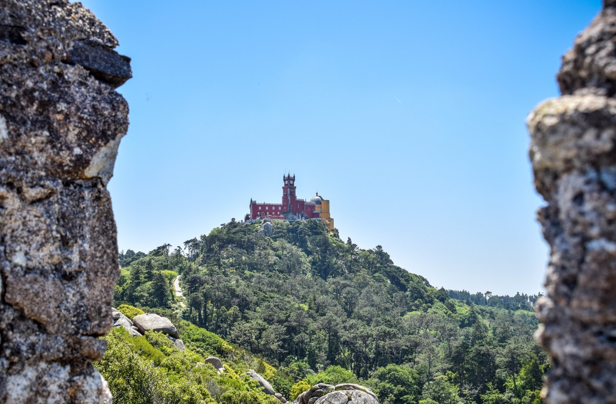 Moorish castle View of Pena Palace Sintra Lisbon Portugal