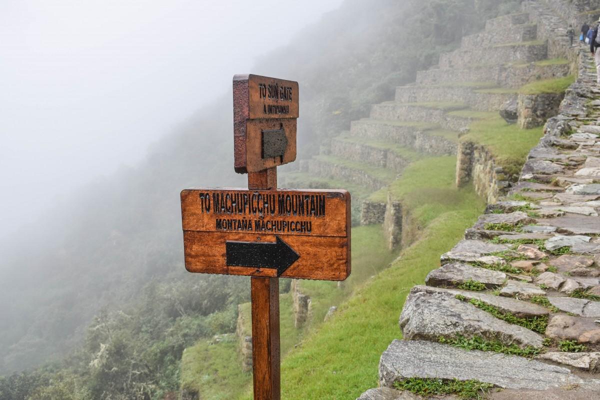 Machu Picchu Mountain hike starting pointPeru