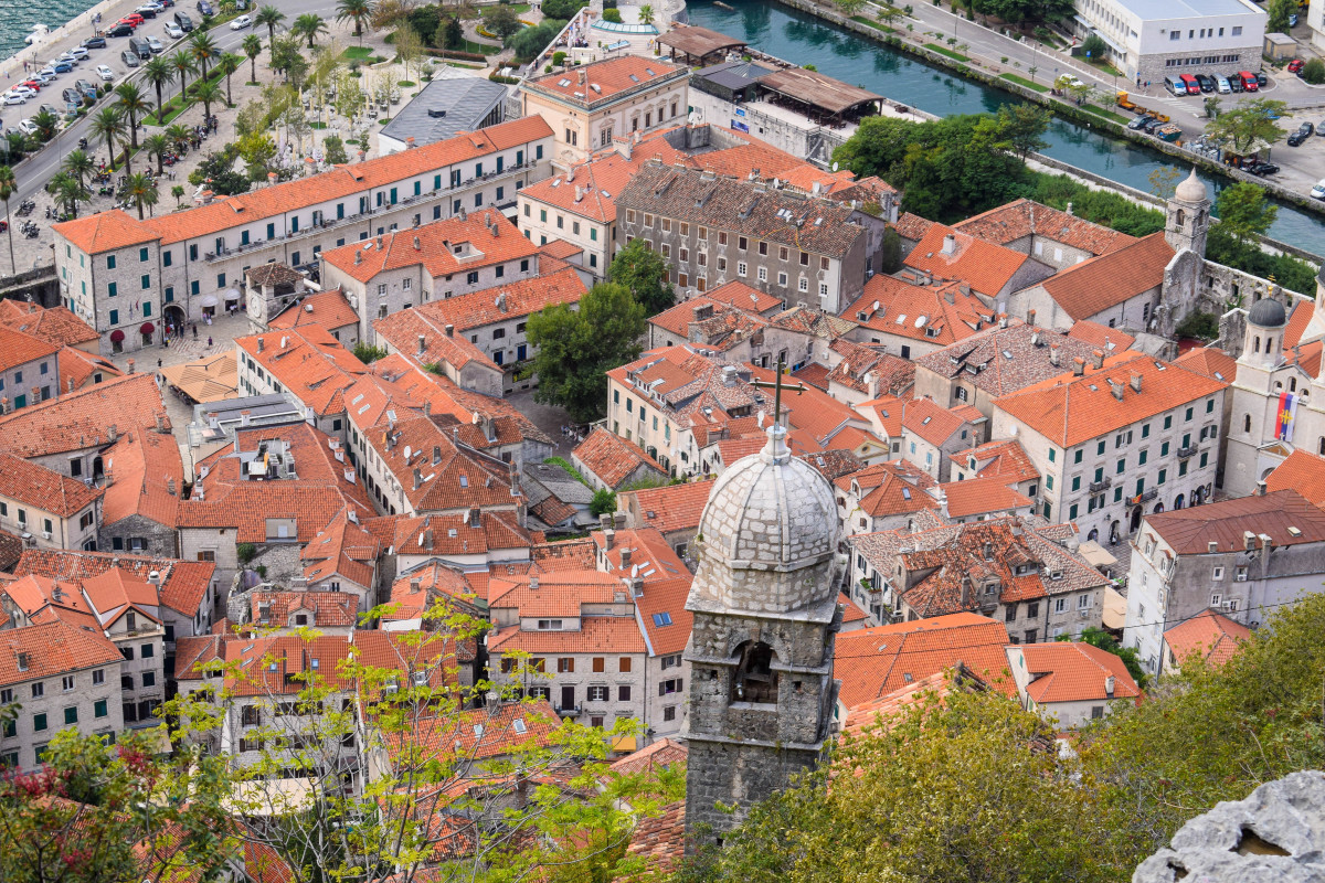 Kotor Old Town birdseye view Montenegro